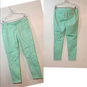 GAP Skinny Mini Khakis in Mint Green SZ:2